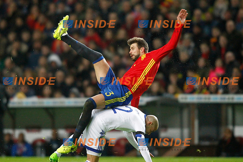 Spain's Gerard Pique (t) and Israel's Tal Ben Chaim during FIFA World Cup 2018 Qualifying Round match. <br /> Gijon 24-03-2017 Stadio El Molinon <br /> Qualificazioni Mondiali <br /> Spagna - Israele <br /> Foto Acero/Alterphotos/Insidefoto <br /> ITALY ONLY