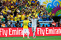 (L-R) Neymar, Julio Cesar (BRA),<br /> JUNE 28, 2014 - Football / Soccer :<br /> Brazil's Neymar and goalkeeper Julio Cesar cheer up in the penalty shoot out during the FIFA World Cup Brazil 2014 Round of 16 match between Brazil 1(3-2)1 Chile at Estadio Mineirao in Belo Horizonte, Brazil. (Photo by D.Nakashima/AFLO)