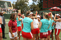 23 May 2006: Lele Forood, Anne Yelsey, Theresa Logar, and the team celebrate after Stanford's 4-1 win over the Miami Hurricanes in the 2006 NCAA Division 1 Women's Tennis Team Championships at the Taube Family Tennis Stadium in Stanford, CA.