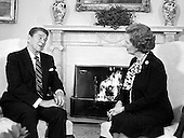 United States President Ronald Reagan and Prime Minister Margaret Thatcher of Great Britain meet in the Oval Office of the White House in Washington, D.C. on Wednesday, February 20, 1985.  Their meeting lasted 2 hours.  Thatcher died from a stroke at 87 on Monday, April 8, 2013..Credit: Arnie Sachs / CNP