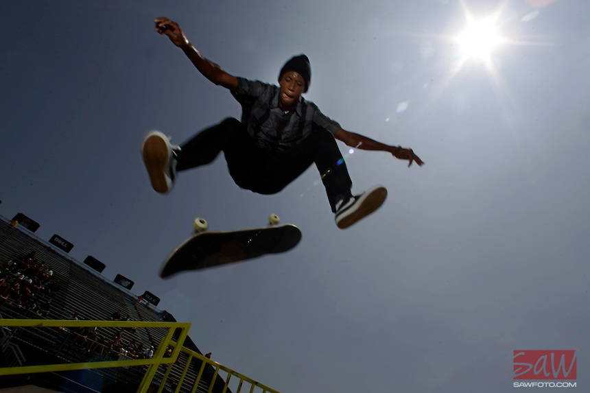 CARSON, CA. JULY 31, 2009: Ishod Wair, competitor in the 15th annual ESPN X Games keeps it gnarly after Hometown Hero Street Skateboard Final Friday July 31, 2009. X Games 15 is at the Staples Center in downtown Los Angeles and at the Home Depot Center in Carson, this weekend.