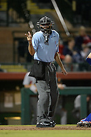 Home plate umpire Pat Hoberg during an Arizona Fall League game between the Scottsdale Scorpions and Salt River Rafters on October 9, 2013 at Scottsdale Stadium in Scottsdale, Arizona.  Salt River defeated Scottsdale 12-2.  (Mike Janes/Four Seam Images)