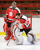 Robby Moss (St. Lawrence - 1), Alex Petizian (St. Lawrence - 30) - The St. Lawrence University Saints defeated the Harvard University Crimson 3-2 on Friday, November 20, 2009, at the Bright Hockey Center in Cambridge, Massachusetts.