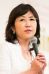 Japanese politician Tomomi Inada speaks during the 21st International Conference for Women in Business at Grand Nikko Tokyo Daiba on July 18, 2016, Tokyo, Japan. 55 guest speakers, principally female leaders, gathered to discuss the roles of women in politics, business and society. (Photo by Rodrigo Reyes Marin/AFLO)