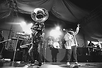 SAN FRANCISCO, CA - June 21: (L - R) Kirk Douglas, David Guy, Damon Bryson, Questlove, and Black Thought of The Roots perform at Clusterfest on June 21, 2019 in San Francisco, CA. photo: Ryan Myers/imageSPACE/MediaPunch