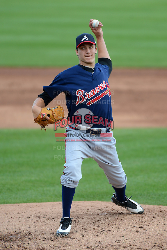 Carson Sands (22) of North Florida Christian School in Tallahassee, Florida playing for the Atlanta Braves scout team during the East Coast Pro Showcase on July 31, 2013 at NBT Bank Stadium in Syracuse, New York.  (Mike Janes/Four Seam Images)