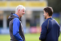 Bath Director of Rugby Todd Blackadder speaks with Wynand Olivier of Worcester Warriors prior to the match. Aviva Premiership match, between Bath Rugby and Worcester Warriors on October 7, 2017 at the Recreation Ground in Bath, England. Photo by: Patrick Khachfe / Onside Images