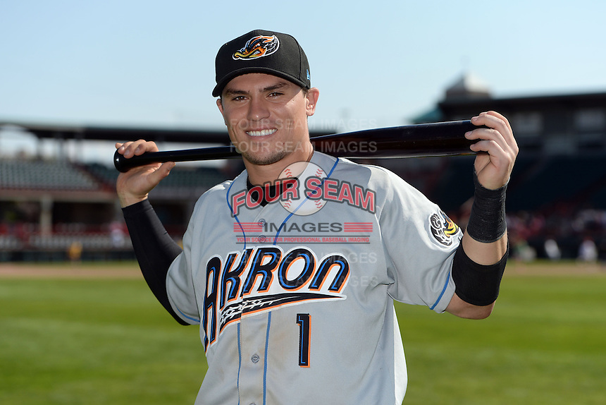Akron RubberDucks catcher Tony Wolters (1) poses for a photo after a game against the Erie SeaWolves on May 18, 2014 at Jerry Uht Park in Erie, Pennsylvania.  Akron defeated Erie 2-1.  (Mike Janes/Four Seam Images)