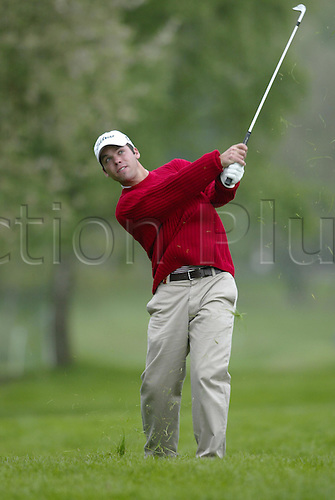9 May 2004: English golfer Paul Casey looks into the distance after playing an iron from the rough during the final round of the Daily Telegraph Damovo British Masters at The Forest of Arden Photo: Neil Tingle/Action Plus...golf golfer golfers 040509