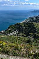 Blick von Forza d'Agro, Sizilien, Italien