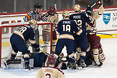 Jack Jenkins (Notre Dame - 28), Peter Schlittenhardt, Cal Peterson (Notre Dame - 40), Matthew Gaudreau (BC - 21), Jake Evans (Notre Dame - 18), Andrew Peeke (Notre Dame - 22), Ryan Fitzgerald (BC - 19) - The Boston College Eagles defeated the University of Notre Dame Fighting Irish 6-4 (EN) on Saturday, January 28, 2017, at Kelley Rink in Conte Forum in Chestnut Hill, Massachusetts.The Boston College Eagles defeated the University of Notre Dame Fighting Irish 6-4 (EN) on Saturday, January 28, 2017, at Kelley Rink in Conte Forum in Chestnut Hill, Massachusetts.