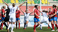 20190301 - LARNACA , CYPRUS : Finnish Olga Ahtinen (8) pictured celebrating her goal and the 1-0 lead during a women's soccer game between Finland and Czech Republic , on Friday 1 March 2019 at the AEK Arena in Larnaca , Cyprus . This is the second game in group A for Both teams during the Cyprus Womens Cup 2019 , a prestigious women soccer tournament as a preparation on the Uefa Women's Euro 2021 qualification duels. PHOTO SPORTPIX.BE | DAVID CATRY