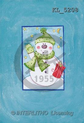 Interlitho, CHRISTMAS SANTA, SNOWMAN, paintings, snowman, gift(KL5208,#X#) Weihnachtsmänner, Schneemänner, Weihnachen, Papá Noel, muñecos de nieve, Navidad, illustrations, pinturas