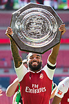 Alexandre Lacazette of Arsenal with the Shield after the The FA Community Shield match at Wembley Stadium, London. Picture date 6th August 2017. Picture credit should read: Charlie Forgham-Bailey/Sportimage