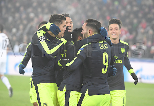 06.12.2016. Basel, Switzerland. Champions League Group A FC Basle versus Arsenal at St. Jakob Park.   Arsenal FC celebrate their goal from Lucas Perez