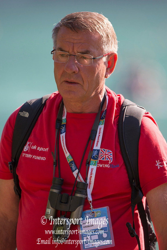 Aiguebelette, FRANCE,    GBR Head Coach, Jurgan GROBLER.    2015 FISA World Rowing Championships, <br /> Venue, Lake Aiguebelette - Savoie. <br /> Saturday  29/08/2015  [Mandatory Credit. Peter SPURRIER/Intersport Images].
