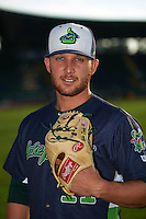 Vermont Lake Monsters pitcher Bubba Derby (11) poses for a photo before a game against the Hudson Valley Renegades on September 3, 2015 at Centennial Field in Burlington, Vermont.  Vermont defeated Hudson Valley 4-1.  (Mike Janes/Four Seam Images)