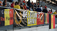 20181009 – BIEL BIENNE , SWITZERLAND : Belgian fans and supporters pictured during the female soccer game between Switzerland and the Belgian Red Flames , the second leg in the semi finals play offs for qualification for the World Championship in France 2019 ; the first leg ended in equality 2-2 ;  Tuesday 9 th october 2018 at The Tissot Arena  in BIEL BIENNE , Switzerland . PHOTO SPORTPIX.BE | DAVID CATRY