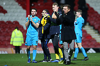 Barnet Manager, Darren Currie, applauds the away fans at the end of the match during Brentford vs Barnet, Emirates FA Cup Football at Griffin Park on 5th February 2019