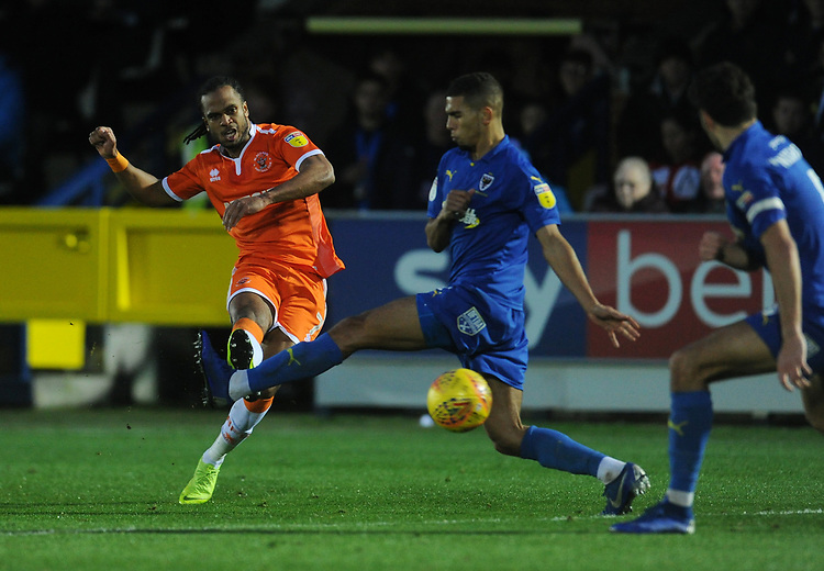 Blackpool's Nathan Delfouneso shoots<br /> <br /> Photographer Kevin Barnes/CameraSport<br /> <br /> The EFL Sky Bet League One - AFC Wimbledon v Blackpool - Saturday 29th December 2018 - Kingsmeadow Stadium - London<br /> <br /> World Copyright © 2018 CameraSport. All rights reserved. 43 Linden Ave. Countesthorpe. Leicester. England. LE8 5PG - Tel: +44 (0) 116 277 4147 - admin@camerasport.com - www.camerasport.com