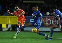Blackpool's Nathan Delfouneso shoots<br /> <br /> Photographer Kevin Barnes/CameraSport<br /> <br /> The EFL Sky Bet League One - AFC Wimbledon v Blackpool - Saturday 29th December 2018 - Kingsmeadow Stadium - London<br /> <br /> World Copyright &copy; 2018 CameraSport. All rights reserved. 43 Linden Ave. Countesthorpe. Leicester. England. LE8 5PG - Tel: +44 (0) 116 277 4147 - admin@camerasport.com - www.camerasport.com