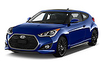 2016 Hyundai Veloster 1.6-Turbo-Manual 4 Door Hatchback Angular Front stock photos of front three quarter view