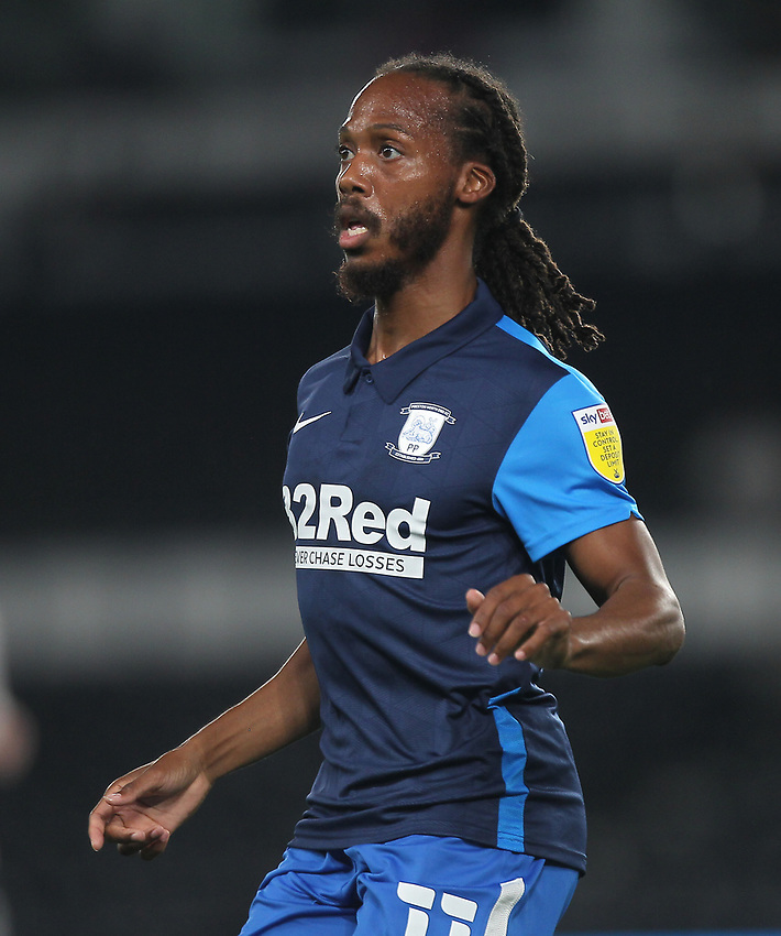 Preston North End's Daniel Johnson<br /> <br /> Photographer Mick Walker/CameraSport<br /> <br /> Carabao Cup Second Round Northern Section - Derby County v Preston North End - Tuesday 15th September 2020 - Pride Park Stadium - Derby<br />  <br /> World Copyright © 2020 CameraSport. All rights reserved. 43 Linden Ave. Countesthorpe. Leicester. England. LE8 5PG - Tel: +44 (0) 116 277 4147 - admin@camerasport.com - www.camerasport.com