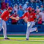28 February 2017: Washington Nationals outfielder Michael Taylor rounds the bases after hitting a walk-off, game winning home run in the 9th inning of the inaugural game against the Houston Astros at the Ballpark of the Palm Beaches in West Palm Beach, Florida. Mandatory Credit: Ed Wolfstein Photo *** RAW (NEF) Image File Available ***