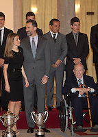 Princess Letizia of Spain, Prince Felipe of Spain and Alfredo Di Stefano attend the National Sports Awards ceremony at El Pardo Palace. December 05, 2012. (ALTERPHOTOS/Caro Marin) NortePhoto