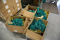 Pictured: Boxed tinsel on the factory floor. Thursday 16 November 2017<br /> Re: Festive company which manufactures tinsel in Cwmbran, Wales, UK.