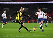 30th January 2019, Wembley Stadium, London England; EPL Premier League football, Tottenham Hotspur versus Watford; Will Hughes of Watford crossing the ball past Jan Vertonghen of Tottenham Hotspur