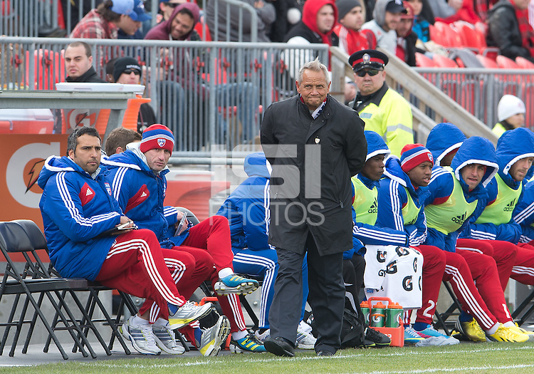 06 April 2013: FC Dallas head coach Schellas Hyndman watches the action during an MLS game between FC Dallas and Toronto FC at BMO Field in Toronto, Ontario Canada..The game ended in a 2-2 draw..