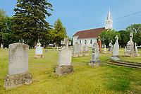 Saint Léon Church, established in 1894 and cemetary, St. Leon, Manitoba, Canada