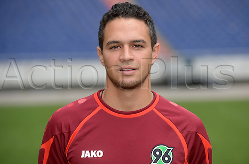11.07.2013. Hannover, Germany.  Player Manuel Schmiedebach of German Bundesliga club Hannover 96 during the official photocall for the season 2013-14 in the HDI Arena in Hannover (Lower Saxony).