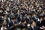 New graduates are among the job hunters attending a job fair in Tokyo, Japan .Photographer: Robert Gilhooly