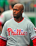 13 April 2009: Philadelphia Phillies' shortstop Jimmy Rollins watches play from the dugout during the Washington Nationals' Home Opener at Nationals Park in Washington, DC. The Nats fell short in their 9th inning rally, losing 9-8, as the visiting Phillies handed the Nats their 7th consecutive loss of the 2009 season. Mandatory Credit: Ed Wolfstein Photo