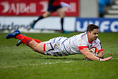 3rd February 2019, AJ Bell Stadium, Salford, England; Premiership Rugby Cup, Sale Sharks versus Newcastle Falcons; Rohan Janse van Rensburg of Sale Sharks goes over and scores a try