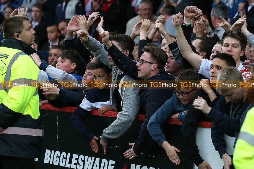 Stevenage fans during Stevenage vs Accrington Stanley, Sky Bet EFL League 2 Football at the Lamex Stadium on 6th May 2017