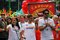 Arriva Trains Wales employees take part in this year's Pride Parade in Cardiff, Wales, UK. Saturday 26 August 2017