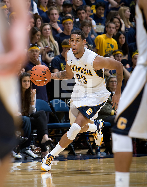 Allen Crabbe of California dribbles the ball during the game against Oregon at Haas Pavilion in Berkeley, California on February 16th, 2012.  California defeated Oregon, 86-83.