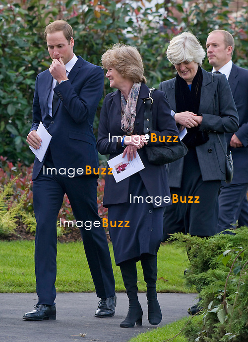 PRINCE WILLIAM WITH AUNTS (Princess Diana's sisters) LADY JANE FELLOWES AND LADY SARAH MCCORQUODALE.attend the funeral of his nanny Olga Powell, who died recently at the age of 82-years old. The service was held at Parndon Wood Crematorium, Harlow, Essex.Princess Diana's sisters Lady Jane Fellowes and Lady sarah McCorquodale were also present. 10/10/2012.
