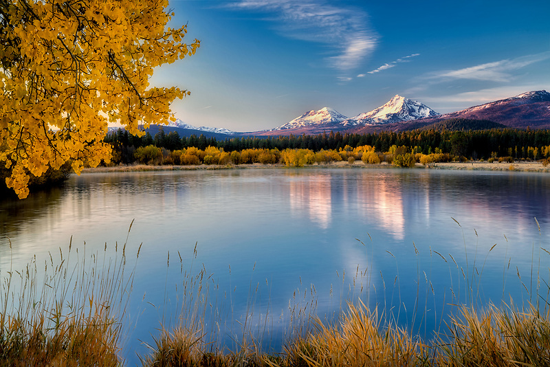 Ponds at Black Butte Ranch with Three Sisters Mountain and fall color. Central Oregon