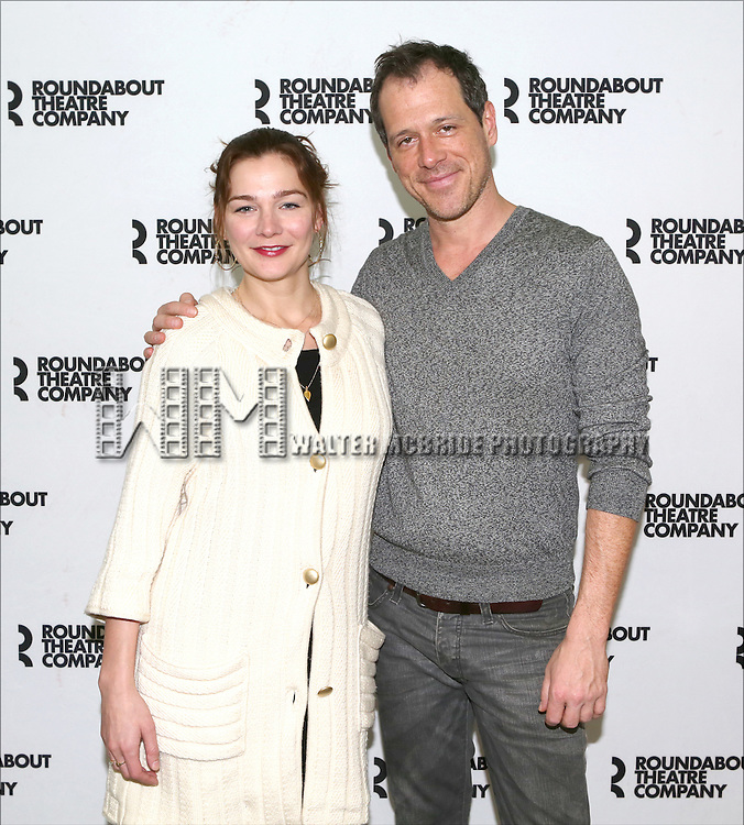 Heather Burns and Darren Pettie attend the Photo Call for the Roundabout Theatre Company's 'Dinner with Friends' at their rehearsal studio on December 20, 2013 in New York City.