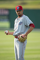 Lakewood BlueClaws starting pitcher Chris Oliver (10) warms up in the outfield prior to the game against the Kannapolis Intimidators at CMC-Northeast Stadium on May 16, 2015 in Kannapolis, North Carolina.  The BlueClaws defeated the Intimidators 9-7.  (Brian Westerholt/Four Seam Images)
