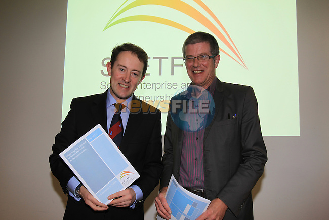 Research & Innovation Minister, Sean Sherlock, T.D. with Philip O'Connor Chairman SEETF at the Annual Meeting of the Social Entrepreneurship Task Force held in the European Parliment Information Office, Dublin 14th November 2012 (Photo Eoin Clarke/www.newsfile.ie)