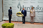 Egyptian President Abdel Fattah al-Sisi lays a wreath at The Kigali Genocide Memorial in Kigali on August 15, 2017, shortly after his arrival for a visit. The Egyptian President is paying a two day visit to Rwanda. Photo by Egyptian President Office