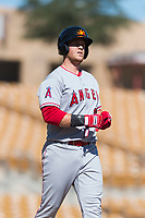 Mesa Solar Sox first baseman David MacKinnon (20), of the Los Angeles Angels organization, walks towards first base after drawing a walk during an Arizona Fall League game against the Glendale Desert Dogs at Camelback Ranch on October 15, 2018 in Glendale, Arizona. Mesa defeated Glendale 8-0. (Zachary Lucy/Four Seam Images)
