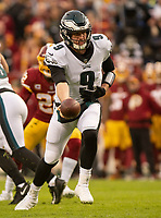 Philadelphia Eagles quarterback Nick Foles (9) prepares to hand-off the ball in first quarter action against the Washington Redskins at FedEx Field in Landover, Maryland on December 30, 2018. Photo Credit: Ron Sachs/CNP/AdMedia