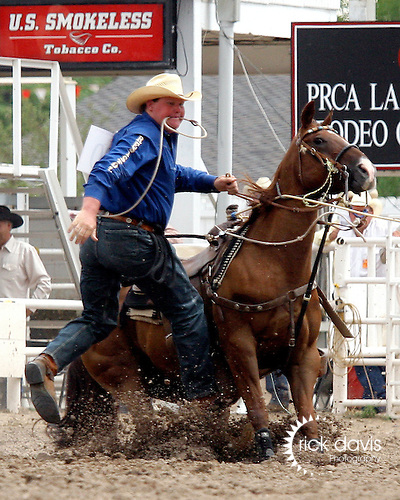 PRCA cowboy Todd Brown made the fast run of 13.2 seconds in tie down roping during the final round action at the 112th annual Cheyenne Frontier Days Rodeo in Cheyenne, Wyoming on July 27, 2008. Todd's time of 43.9 seconds on three head was enough to win the championship buckle.