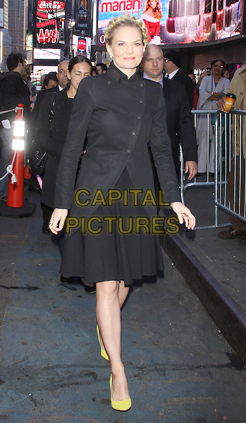 Jennifer Morrison at Good Morning America promoting her ABC TV series 'Once Upon a Time' in New York City, NY., USA.<br /> October 21st, 2013 <br /> full length coat jacket yellow shoes black hair up braid plait hair <br /> CAP/MPI/RW<br /> &copy;RW/ MediaPunch/Capital Pictures